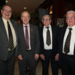 All the Presidents Men! Ulster GAA President Michael Hasson, who was guest of honour at the Ballycastle GAC dinner is seen here with the club's new President Robbie Elliott and former presidents Eddie Donnelly (left) and Brian McShane (right).